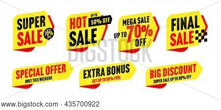 Super Sale Sticker, Hot Price Tag, Big Discount Badge Set. Extra Bonus And Special Offer With Up To