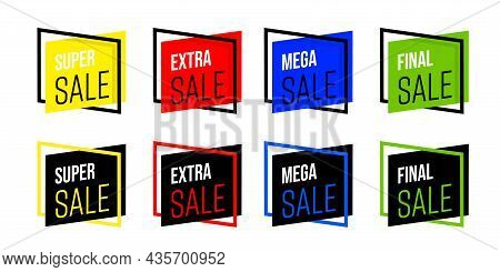 Creative Bright Sale Sticker Or Promotion Badge Set. Geometric Shape Sale Tag With Special Discount