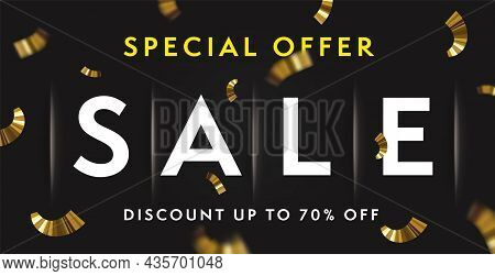 Realistic Sale Banner Background With Special Offer Discount. Template With Headline And Three-dimen