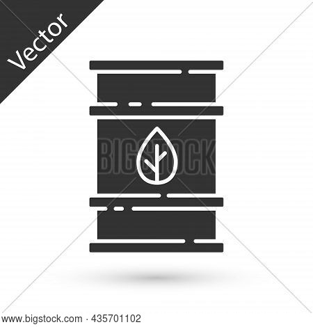 Grey Bio Fuel Barrel Icon Isolated On White Background. Eco Bio And Canister. Green Environment And