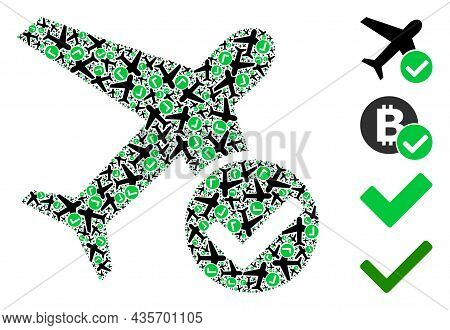 Vector Accept Airplane Mosaic Is Made With Scattered Recursive Accept Airplane Icons. Recursion Mosa