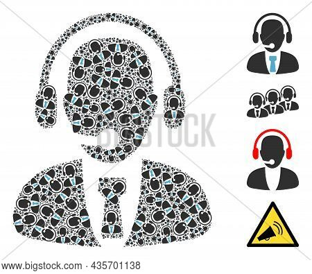 Vector Call Center Operator Fractal Is Formed Of Scattered Fractal Call Center Operator Items. Fract