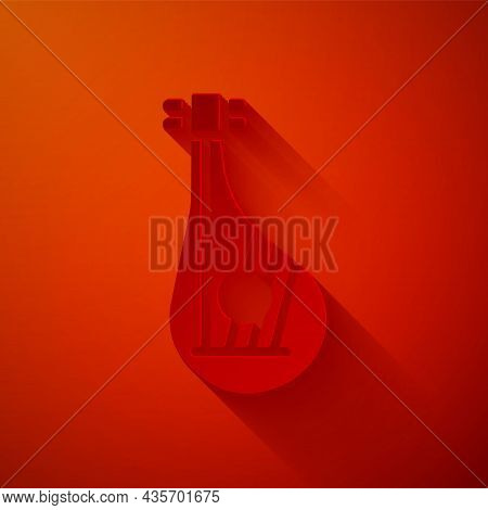 Paper Cut Ukrainian Traditional Musical Instrument Bandura Icon Isolated On Red Background. Paper Ar
