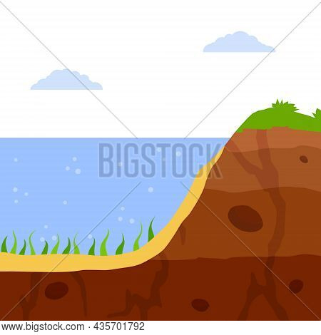 Water Shore. Flat Cartoon Illustration. Land In Cross Section. Coast Of Pond And Bottom Of Lake. Eco