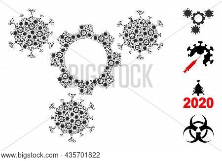 Vector Virus Gears Fractal Is Composed From Repeating Fractal Virus Gears Elements. Fractal Collage