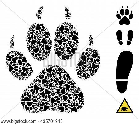 Vector Tiger Footprint Collage Is Designed With Randomized Recursive Tiger Footprint Parts. Recursiv