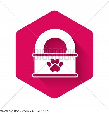 White Canned Food Icon Isolated With Long Shadow Background. Food For Animals. Pet Food Can. Pink He