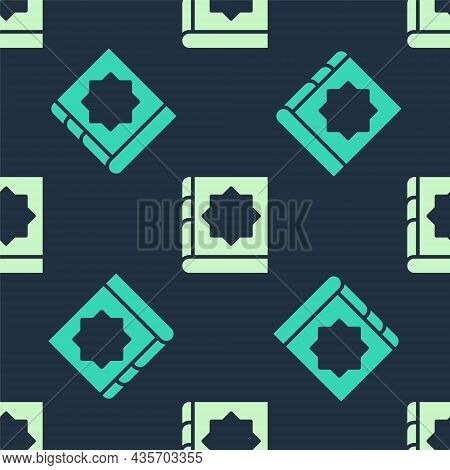 Green And Beige Holy Book Of Koran Icon Isolated Seamless Pattern On Blue Background. Muslim Holiday