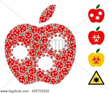 Vector Infected Apple Mosaic Is Formed From Randomized Fractal Infected Apple Items. Fractal Mosaic