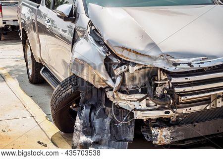 Broken Car Crash Accident Damage Background Close Up