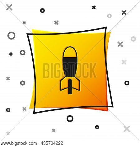 Black Rocket Launcher With Missile Icon Isolated On White Background. Yellow Square Button. Vector