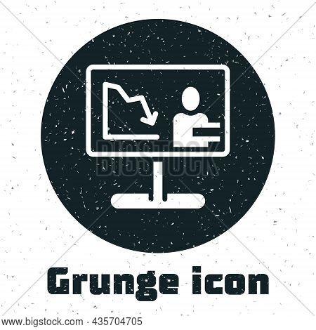 Grunge Global Economic Crisis News Icon Isolated On White Background. World Finance Crisis. Monochro