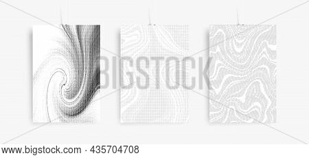 Vector Marbling Halftone Posters Set. Marble Texture For, Brochure, Invitation, Cover Design