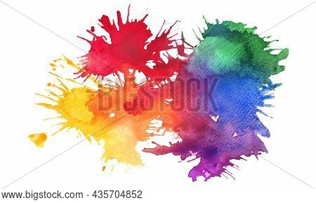 Paint Splashes And Splatters Abstract Colorful Vector Background. Multicolored Rainbow