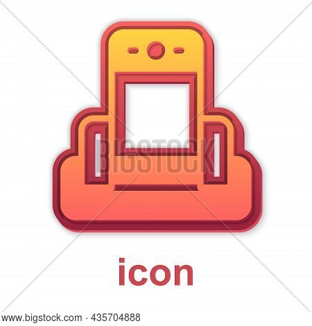 Gold Metal Detector In Airport Icon Isolated On White Background. Airport Security Guard On Metal De