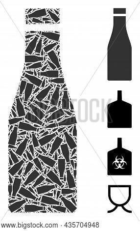 Vector Beer Bottle Composition Is Constructed From Scattered Fractal Beer Bottle Parts. Fractal Comp