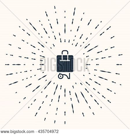 Grey Suitcase For Travel Icon Isolated On Beige Background. Traveling Baggage Sign. Travel Luggage I