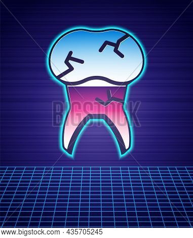 Retro Style Tooth With Caries Icon Isolated Futuristic Landscape Background. Tooth Decay. 80s Fashio