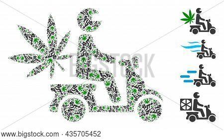 Vector Marijuana Motorbike Delivery Fractal Is Designed Of Randomized Fractal Marijuana Motorbike De