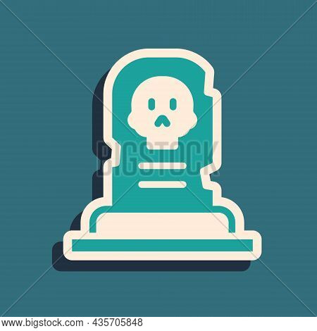 Green Grave With Tombstone Icon Isolated On Green Background. Long Shadow Style. Vector