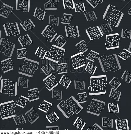 Grey Toe Separator For Pedicure Icon Isolated Seamless Pattern On Black Background. Vector