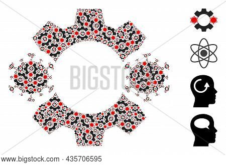 Vector Virus Nanobot Mosaic Is Designed Of Scattered Fractal Virus Nanobot Elements. Fractal Mosaic