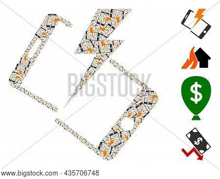 Vector Smartphone Crash Mosaic Is Constructed From Randomized Recursive Smartphone Crash Elements. R