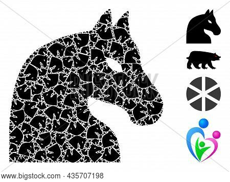 Vector Chess Horse Fractal Is Organized Of Scattered Fractal Chess Horse Elements. Fractal Mosaic Fo
