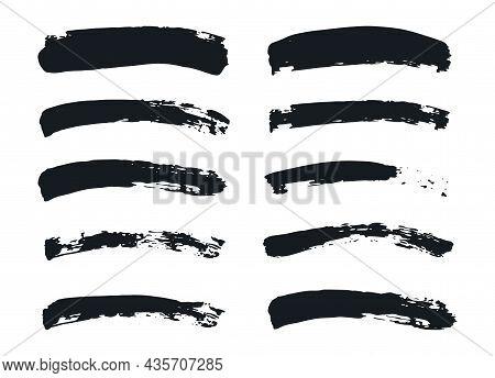 Black Brush Shape. Paintbrush Line Collection. Vector Grunge Brushes Set.