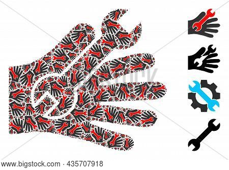 Vector Repair Service Hand Collage Is Created Of Randomized Recursive Repair Service Hand Items. Fra