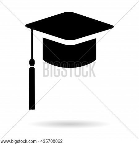 Cap, Hat Symbol Isolated On White Background. Graduate Education Illustration Vector Icon, Success W