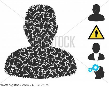 Vector Person Profile Fractal Is Created Of Scattered Fractal Person Profile Items. Fractal Collage