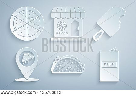 Set Taco With Tortilla, Ice Cream, Location Slice Pizza, Beer Can, Pizzeria Building Facade And Pizz
