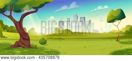 Summer Glade With Trees, Bushes, Hills.sunny Day, Blue Sky.landscape With Skyline Cityscape House Bu