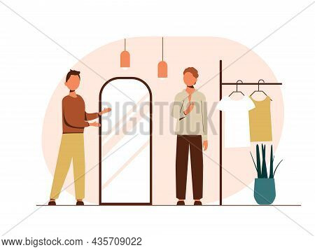People Shopping Flat Vector Illustrations Set. Shoppers Choose Their Clothes. Clothing Store, Sale.