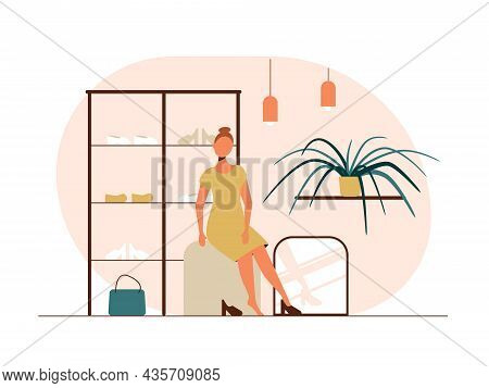 People Shopping Flat Vector Illustrations Set. Shopper Try On Shoes In A Clothing Store. Clothing St