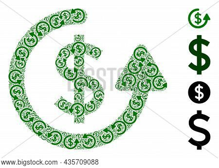 Vector Repeat Payment Collage Is Formed Of Scattered Fractal Repeat Payment Elements. Recursion Coll