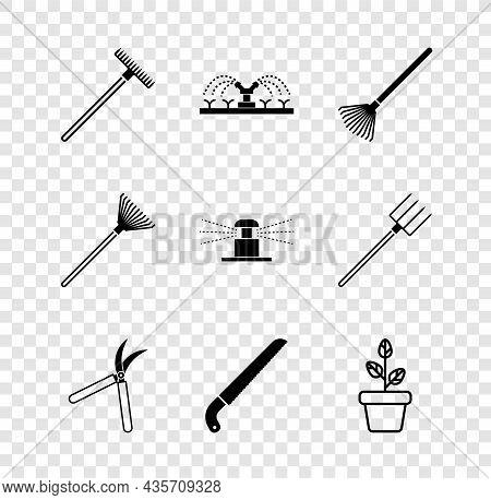 Set Garden Rake, Automatic Irrigation Sprinklers, For Leaves, Gardening Handmade Scissor, Saw, Flowe