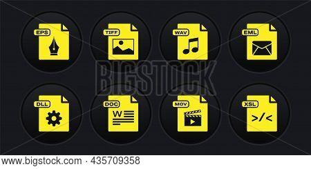 Set Dll File Document, Eml, Doc, Mov, Wav, Tiff, Xsl And Eps Icon. Vector