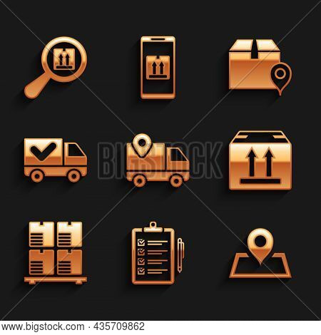 Set Delivery Tracking, Verification Of Delivery List, Placeholder Map, Cardboard Box With Traffic, B