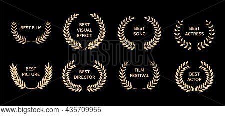 Gold Film Awards. Golden Award Wreaths. Illustration