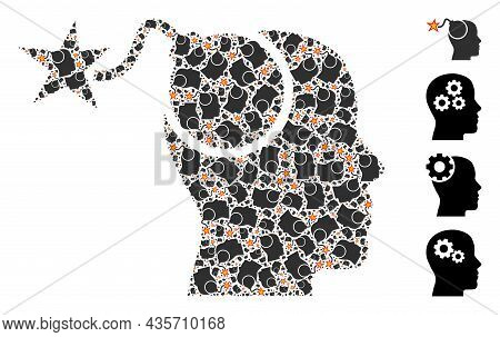 Vector Bomb Idea Fractal Is Done From Random Recursive Bomb Idea Pictograms. Recursive Mosaic From B