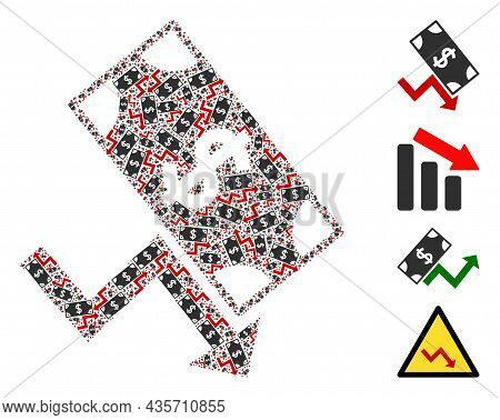 Vector Dollar Down Trend Composition Is Made From Randomized Recursive Dollar Down Trend Pictograms.