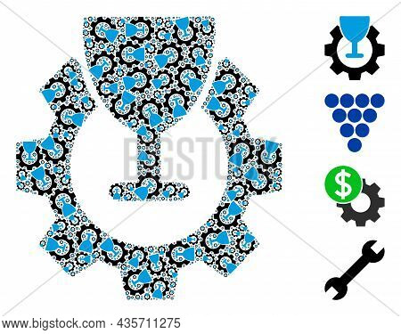 Vector Wine Industry Collage Is Formed From Scattered Fractal Wine Industry Items. Fractal Collage F