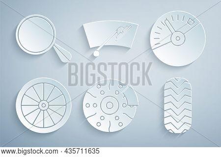 Set Car Brake Disk With Caliper, Speedometer, Wheel, Tire, Windscreen Wiper And Mirror Icon. Vector