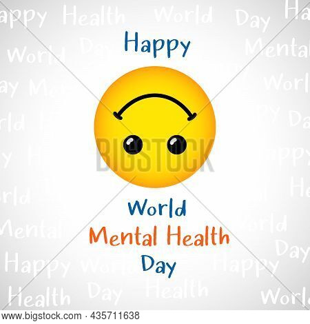 Happy World Mental Health Day Greeting Card Concept. International Holiday Creative Congrats. Isolat