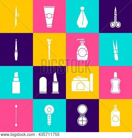 Set Spray Can, Nail Polish Bottle, Eyebrow Tweezers, Perfume, Makeup Brush, File, Curling Iron And B