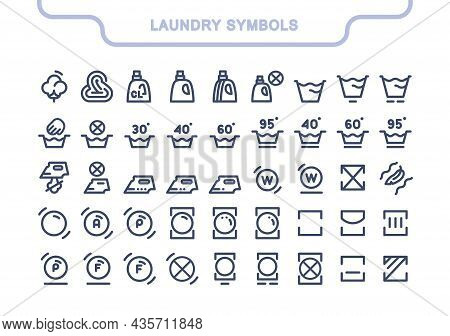 Simple Laundry Vector Icons Set, Full Collection. Laundry Tag: Drying, Spinning, Hand Washing, Delic