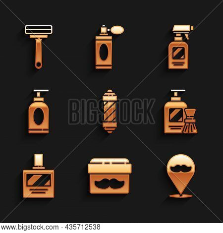 Set Classic Barber Shop Pole, Cream Or Lotion Cosmetic Jar, Barbershop, Shaving Gel Foam And Brush,