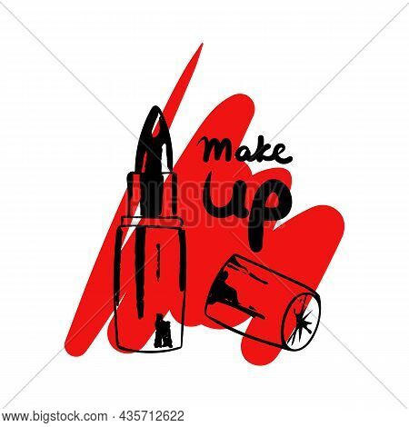 Fashionable Black Lipstick On An Abstract Shape Of Smeared Red Lipstick. Lettering Make Up. Vector I